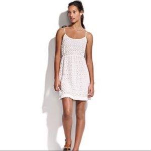 MADEWELL Cream Circle Eyelet Strappy Mini Dress